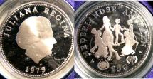 World Coins - NETHERLANDS ANTILLES 1979 25 GULDER YEAR OF THE CHILD PROOF, .925 SILVER W/BOX & COA