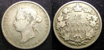 World Coins - Canada 25 Cents 1872-H  Fine, scr.obv.