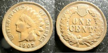 Us Coins - Indian Cent 1907 VF-20