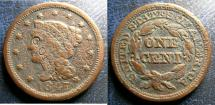 Us Coins - LARGE CENT 1847 C/M CORTH VF/SCRS