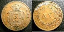 World Coins - Portugal 20 Reis 1849 EF, spots