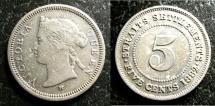 World Coins - STRAITS SETTLEMENTS 1882-H FIVE CENTS KM#10 FINE