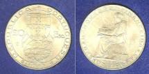 World Coins - Portugal  20 Escudos 1953 Au/Unc; .800 Silver