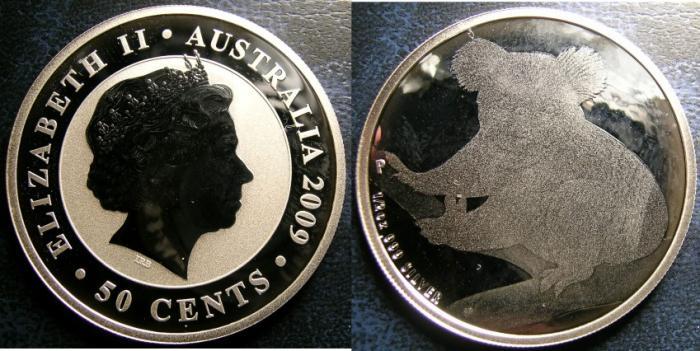 World Coins - AUSTRALIA 50 CENTS 2009 KOWALA 1/2 OUNCE SILVER COIN