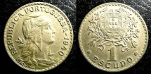 World Coins - Portugal  Escudo 1940  EF