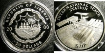 World Coins - Liberia  $20.00 2000 International Space Station Proof, .999 Silver