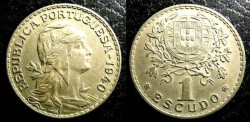 World Coins - Portugal  Escudo 1940  EF
