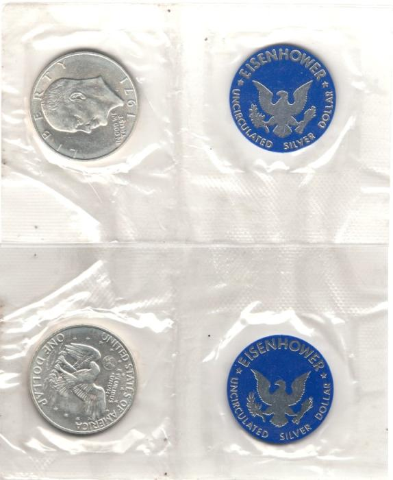 US Coins - EISENHOWER DOLLAR 1971-S MINT PACKAGING, NO BLUE ENVELOPE, 40% SILVER