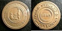 World Coins - Ceylon  AE Token 1843 Geroge Steuart, Wekande Mills R&B Au/ Unc; Redish Brown