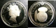 World Coins - BRITISH VIRGIN ISLANDS TWENTY DOLLARS 1985 POCKET WATCH  PROOF,.925 SILVER