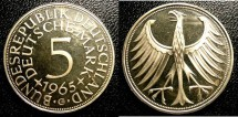 World Coins - Germany Federal Republic 1965-G 5 Mark Proof, cpl hairlines
