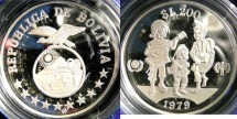 World Coins - Bolivia 200 Pesos 1979 Year of the Child Proof, w/Case & COA .925 Silver