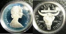World Coins - Dollar 1982 Regina Bison, Skull Proof 65, .500 Silver