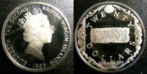 World Coins - BRITISH VIRGIN ISLANDS TWENTY DOLLARS 1985 GOLD BAR,  PROOF,.925 SILVER