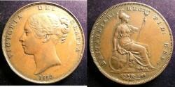 World Coins - England  Penny 1853 DEF-OT, EF
