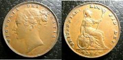 World Coins - England  Farthing 1853 ww raised, EF