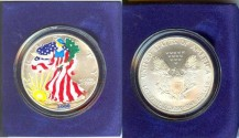 Us Coins - American Eagle 2001, or 2004 Colorized, 1 Ounce .999 Silver