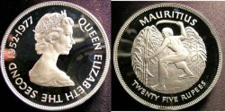 World Coins - Mauritius 25 Rupees 1977 Proof, Silver Jubilee, .925 Silver