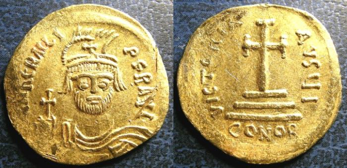Ancient Coins - BYZANTINE  EMPIRE GOLD SOLIDUS  602-10 PHOCAS, FR#93  EF, cpl scrs.