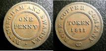 World Coins - England- Warwickshire  Penny 1811 Birmingham  EF