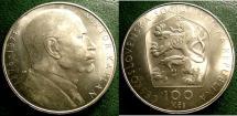World Coins - CZECHOSLOVAKIA ND 1976 100  KORUN BIRTH VICTOR KAPLAN  KM-85 BU/UNC; .700 SILVER