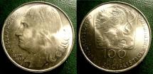 World Coins - CZECHOSLOVAKIA ND 1977 100  KORUN DEATH OF VACLAV HOLLAR  KM-88  BU/UNC; .700 SILVER