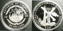 World Coins - Liberia  $20.00  2000 Apollo X Mission Proof, .999 Silver