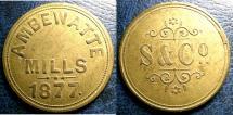World Coins - CEYLON, SABONADIERE & CO.; S.& C CO./AMBERWATTE MILLS, 1877 IN BRASS PR.86 AU/UNC;