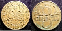 World Coins - Poland 5 Groszy 1928 EF