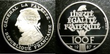 World Coins - France 100 Francs 1987 Piefort Proof, .950 Silver