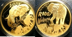 World Coins - SOUTH AFRICA 2008 ONE HUNDRED RAND GOLD, 1 OZ. 24 K GOLD PROOF W/BOX & COA