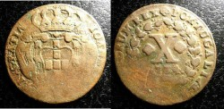 World Coins - Portugal 10 Reis 1734 VF areas of weakness in striking
