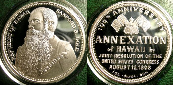 World Coins - ROYAL HAWAIIAN ANNEXATION DALA,100TH ANNIVERSARY ANNEXATION BY JOIN RESOLUTION,  NO.103 OF 500 ISSUED