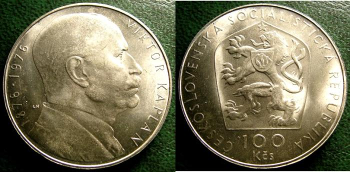 World Coins - CZECHOSLOVAKIA ND 1976 100  KORUN BIRTH VICTOR KAPLAN  KM-85 BU/UNC; .700 SILVER