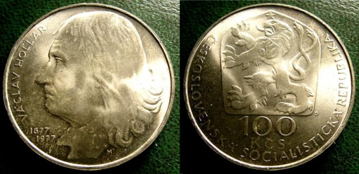 World Coins - CZECHOSLOVAKIA ND 1977 100  KORUN DEATH OF VACLAV HOLLAR  KM-88  BU/UNC; .700 SILVER