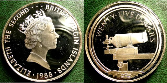 World Coins - BRITISH VIRGIN ISLANDS  25 DOLLARS 1988  CANNON,  PROOF, .925 SILVER