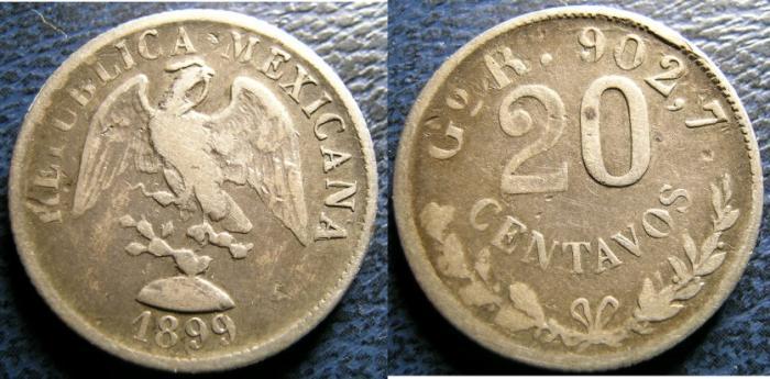 World Coins - MEXICO 1899 20 CENTAVOS KM#65.1 FINE+, .9027 SILVER