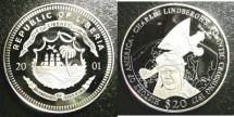 World Coins - Liberia $20 Dollars 2001  Lindberghs 1927 Atlantic Crossing Proof, .999 Silver