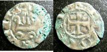 World Coins - Frankish Greece- Achaia  Denier 1318-1333 John of Gravina, VF
