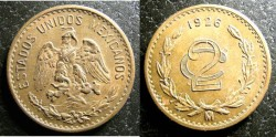 World Coins - Mexico 2 Centavos 1926 AU/Unc.