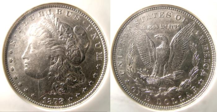 US Coins - MORGAN DOLLAR 1878-7 TAIL  FEATHERS, REVERSE OF 1879 NGC AU