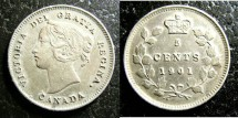 World Coins - Canada  5 Cents 1901  AU/Unc.
