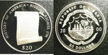 World Coins - Liberia  $20 Dollars 2000 Bill of Rights Proof Km#609 .999 Silver