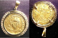 Ancient Coins - Byzantine Empire  Gold Solidus 582-602 AD Maurice Tiberius Fr#88 in a 14KY Diamond bezel