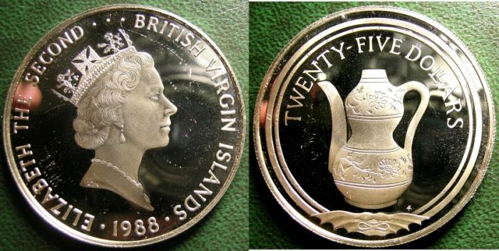 World Coins - BRITISH VIRGIN ISLANDS  25 DOLLARS 1988  PITCHER,  PROOF, .925 SILVER