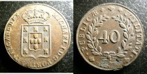 World Coins - Portugal 40 Reis 182-, flan flaw on type of 1829-33, EF Scarce
