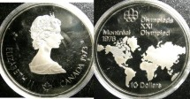 World Coins - Canada $10.00 1973 World Map Proof, .925 Silver