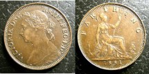 World Coins - England  Farthing 1881  EF