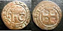 World Coins - Italian States- Naples  AE Sesino 1516-19 Giovanna la Pazza con il figlio Carlo F+