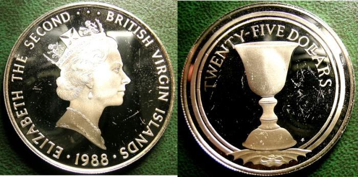 World Coins - BRITISH VIRGIN ISLANDS  25 DOLLARS 1988  CHALICE,  PROOF, .925 SILVER